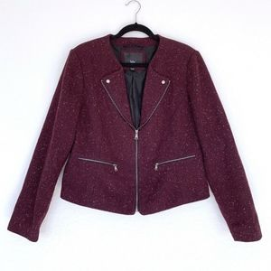 Mossimo Burgundy Red White Zip Tweed Moto Jacket